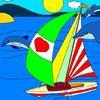 Colorea los yates y delfines